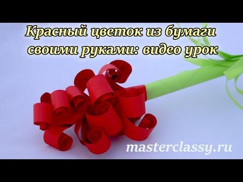 Красный цветок из бумаги своими руками