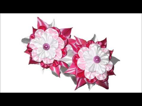 Цветок канзаши из ткани
