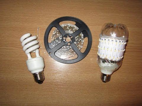 Светодиодные лампы из светодиодной ленты своими руками