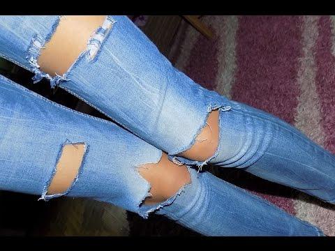 Как правильно сделать дырявые джинсы видео
