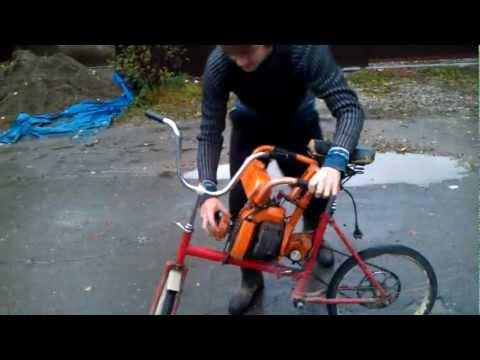 Как сделать мотовелик из бензопилы своими руками