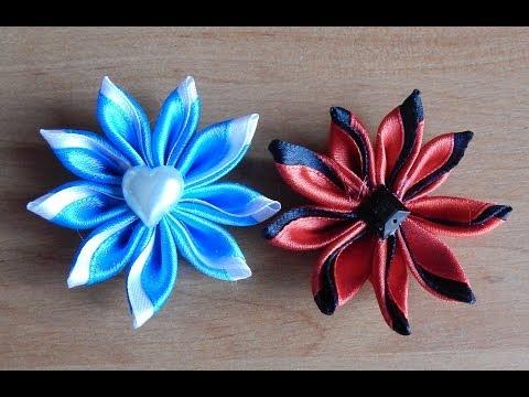 Цветы из узких атласных лент