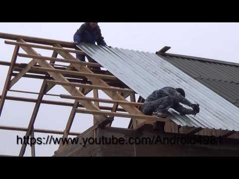 Кроем односкатную крышу профнастилом своими руками видео
