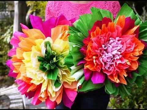 Больших цветов из гофрированной бумаги своими руками